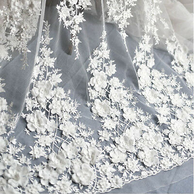 1Pcs Flower Embroidery Tulle Mesh Lace Applique For Wedding Dress Gown Fabric