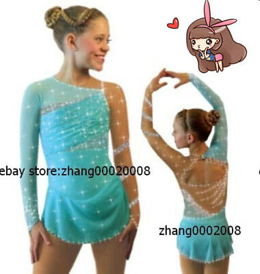 Ice skating dress.Competition turquoise Figure Skating / Baton Twirling Costume