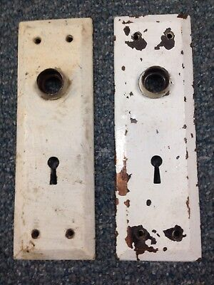 Matching Set Of 2 Vintage Antique Door Knob Backplate Plate Covers ****