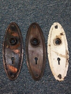 Matching Set Of 3 Vintage Antique Door Knob Backplate Plate Covers Oval ***