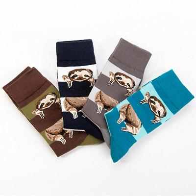 4pairs New Unisex Sloth Pattern Socks Novelty Fun Design Casual Dress Socks