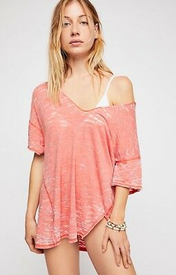 NWT We The Free People Maddie Tee T Shirt Top M Burnout Coral Haze