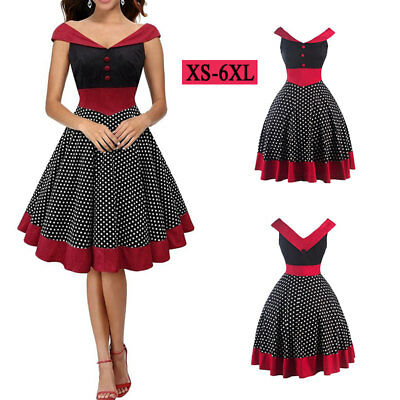 Women Vintage Dress 50S Swing Pinup Party Ball Sleeveless Red Dresses Winter