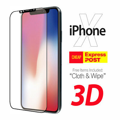 For Apple iPhone X XR XS MAX + Full Coverage 3D Tempered Glass Screen Protector