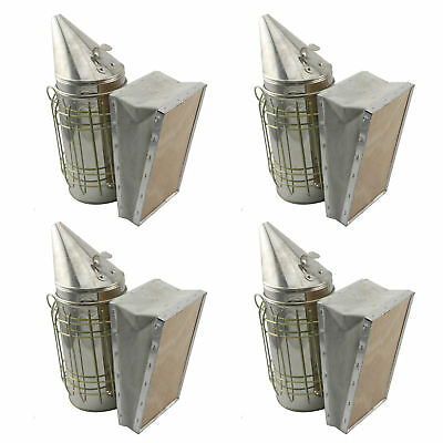 Set of 4 Bee Hive Smoker Stainless Steel w. Heat Shield Beekeeping Equipment.