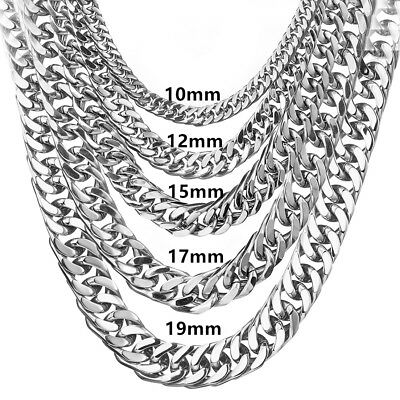 6/8/1012/15/17/19mm Men Boy Silver Stainless Steel Double Link Curb Necklace