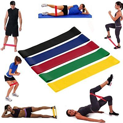 RESISTANCE BANDS Set of 5 LOOP YOGA PILATES HOME GYM FITNESS