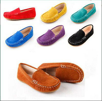 1e72a42590b 7516 Boys Girls Loafer Slip on Soft Genuine Leather Shoes Baby Kids Casual  Flats