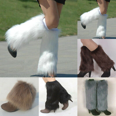 Winter Women Boot CoversFurry Solid Color Faux Fur Soft Leg Warmers Noted