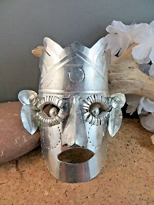 Vintage Mexico Aztec Hand Made Tin Silver Metal Native Mask Folk Art Wall Decor