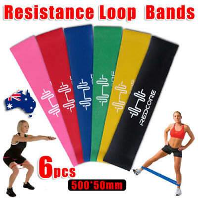 6pcs Resistance Loop Bands Mini Band Exercise Crossfit Strength Fitness GYM OZ