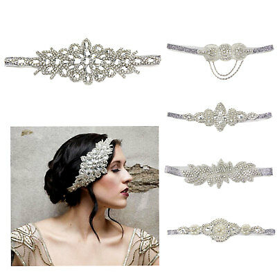 Rhinestone Headband Headpiece Great Gatsby Flapper Vintage Silver Diamante 1920s