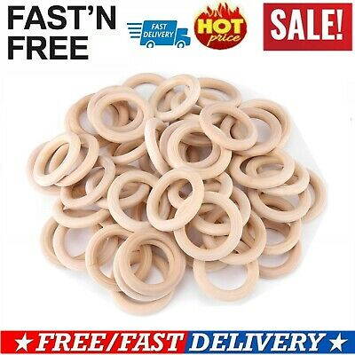 50pcs Unfinished Natural Wooden Round Rings Wooden Craft Loop