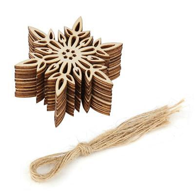 10pcs Wooden Snowflakes Tree Decorations Craft Hanging Bauble Snowflake Shape