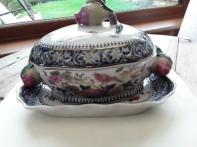 Antique Ornate Vegetable Tureen With Lid And Plate