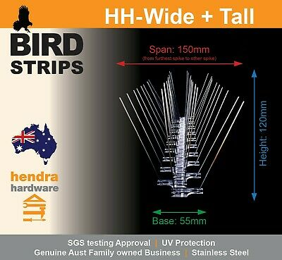 Bird Spikes Stainless Steel 10 Mtrs 20 x 500mm Extra Large HH Wide + Tall
