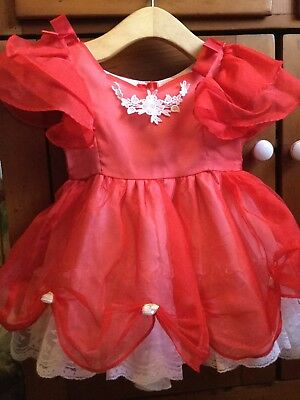 Vintage Lida Toddler Girls Red Sheer Frilly Dress sz 3 Ruffles Lace Rosettes USA