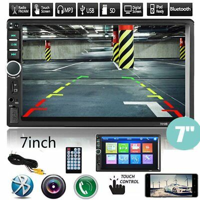 """Bluetooth 7"""" Car Stereo Radio MP5 MP3 Player 2 Double DIN Touch Screen 7010B UK"""