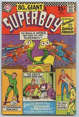 Superboy #129 VG+ 1966 80 Page Giant Off- White Pages Nice Spine