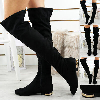 Womens Ladies Over The Knee Boots Gold Trim Heel Party Fashion Shoes Size