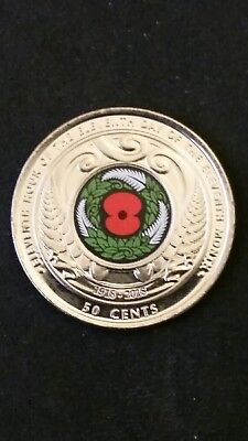 2018 New Zealand 50 Cent ARMISTICE Commemorative Coin - Uncirculated