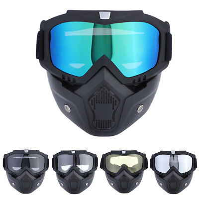 Motorcycle Helmet Snow Goggles Face Mask Shield Filter Tinted Lens Detachable UK