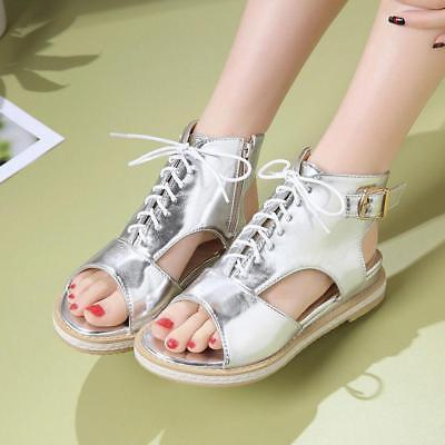 hot sale Womens Flat Heel peep toe Sandals Lace Up Side Zip Casual Shoes