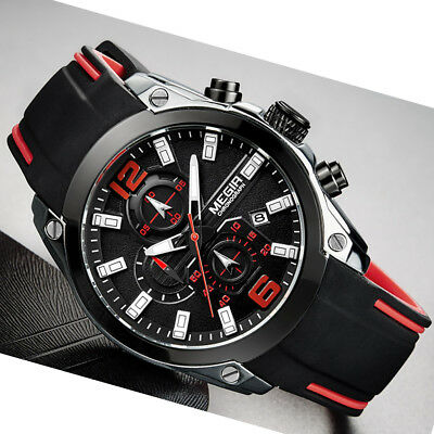 Megir Waterproof Sports Military Watches Shock Men's Analog Quartz Digital Watch