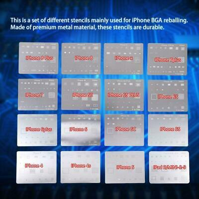 16pcs IC Chip BGA Reballing Stencil Kits Set Solder Template for iPhone 6/7/8/X
