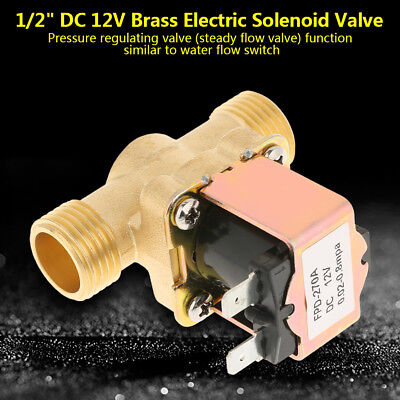 """1/2"""" DC 12V N/C Normally Closed Electric Solenoid Valve Water Inlet Flow Switch"""