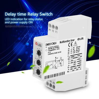 DC24V &AC24-240V Multi-voltage Time Control Relay Delay OFF Switch w/ 7 Function