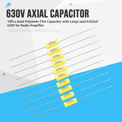10Pcs/set 0.022uF 630V Yellow Axial Polyester Film Capacitor with Long Lead GL