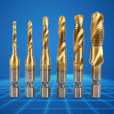 "6pcs 1/4"" Hex Shank Metric M3-M10 Thread Titanium Coated HSS Drill Tap Bits Set"