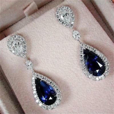 Fashion Elegant 925 Silver   Rhinestone Sapphire Lady Dangle Earrings 2019