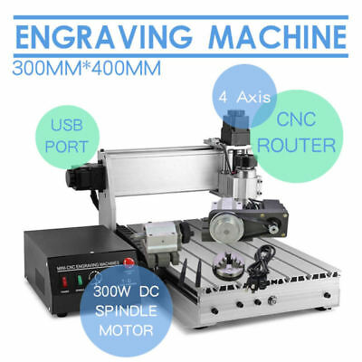 Usb Cnc Router Engraver Engraving Cutter T-Screw Desktop Cutting 4 Axis 3040