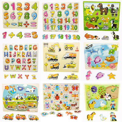 Wooden Animal Letter Puzzle Jigsaw Early Learning Educational Baby Kids Toys Hot