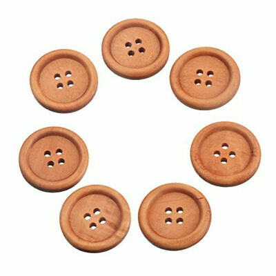 100 Round Wood Buttons 4 Holes Scrapbooking Sewing Natural Wooden DIY Craft 10mm