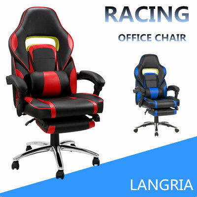 Executive Gaming Racing Office Chair Recliner Luxury Faux Leather Computer Desk