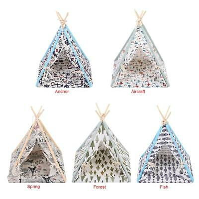 Pet Tent Outdoor Travel Puppy Teepee Cat Dog Detachable Bed Mat Foldable House