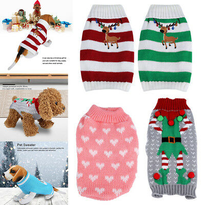 Christmas Reindeer Pet Puppy Cat Dog Sweater Striped Knit Crocheted Knitwear