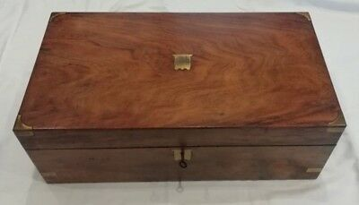 ANTIQUE BRASS BANDED ROSEWOOD WRITING SLOPE,WORKING LOCK & KEY,COLLECTIBLE c1880
