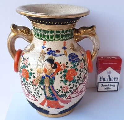 Asian Art Large Ceramic Vase Hand Painted China um 1900 AL1040