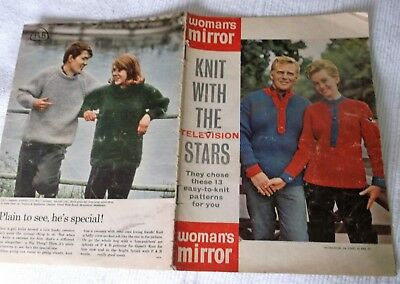 ORIGINAL, VINTAGE, 'WOMAN'S MIRROR' KNIT WITH THE TELEVISION STARS, 13 patterns