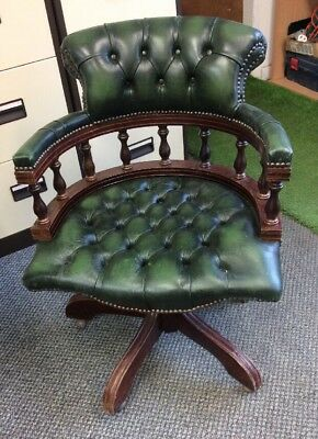 Chesterfield Captains Bottle Green Leather Chair