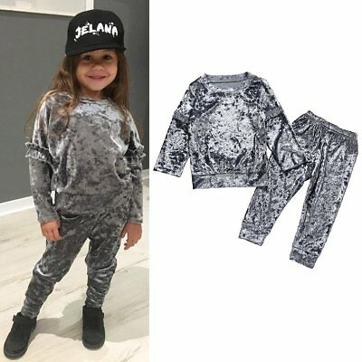 Toddler Kids Baby Girls Infant Clothes T-shirt Tops Long Pants Outfits Tracksuit