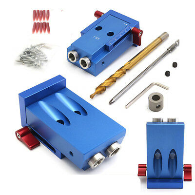 Pocket Hole Drilling Jig Kit+Step Bit Woodworking Joinery Tool For Kreg System T