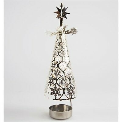 Large Silver Rotary Christmas Tree Tealight Holder Moving Centre Piece Decoratio