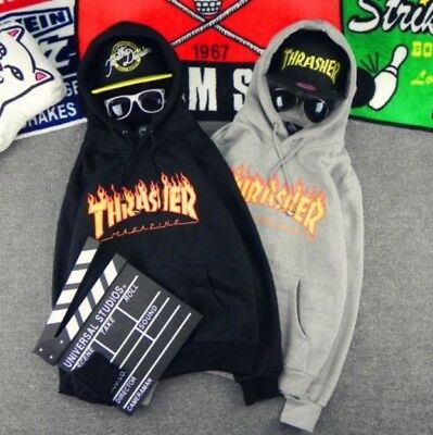 Men Women Hoodie Sweater Hip-hop Skateboard Thrasher Sweatshirts Pullover Coat X