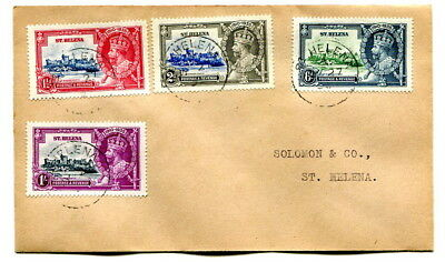 St. Helena 1935 Silver Jubilee set on neat locally used cover, SG's 124-127
