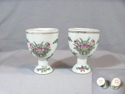 Antique/vintage Hand-Painted Chinese Egg Cups-Red Four Character Mark On Bottoms